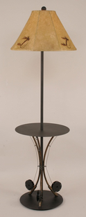 METAL FISHING POLES TRAY FLOOR LAMP