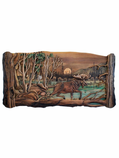 MOOSE HUNTERS WOOD INTARSIA