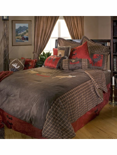 MOOSE PLAID BED SET TWIN