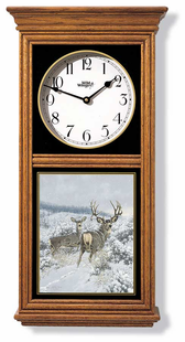 MULE DEER  REGULATOR CLOCK OAK OR BLACK