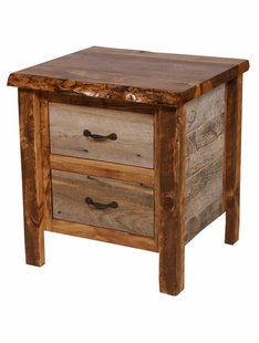 NATURAL BARNWOOD 2 DRAWER NIGHTSTAND