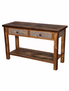 NATURAL BARNWOOD 2 DRAWER SOFA TABLE