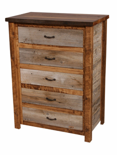 NATURAL BARNWOOD 5 DRAWER CHEST
