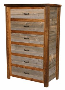 NATURAL BARNWOOD 6 DRAWER CHEST