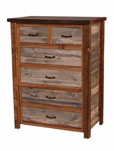 NATURAL BARNWOOD 6 DRAWER SPLIT TOP CHEST