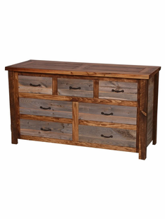 NATURAL BARNWOOD 7  DRAWER DRESSER