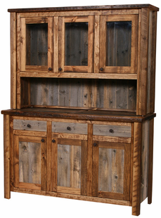 NATURAL BARNWOOD MEDIUM BUFFET AND HUTCH