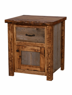 NATURAL BARNWOOD NIGHTSTAND WITH 1 DRAWER AND 1 DOOR
