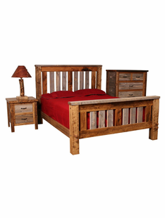 NATURAL BARNWOOD SHADOW MTN. BEDS (SLATTED BEDS - NEW DESIGN)