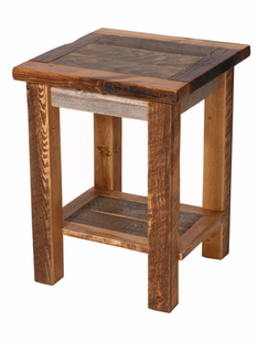 NATURAL BARNWOOD SIDE TABLE W/FLAT SHELF