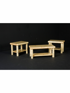 NORTHERN EXPOSURE PINE LOG COFFEE TABLE W/ SHELF