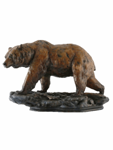 """ONE STEP AT A TIME"" GRIZZLY BEAR SCULPTURE"
