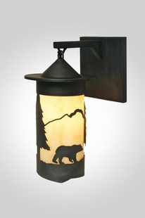 PASADENA BEAR HANGING RUSTIC STEELWALL SCONCE