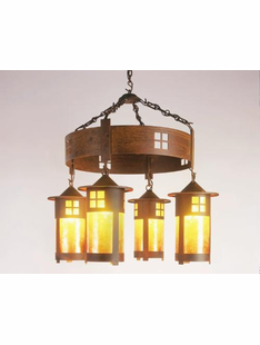 "PASADENA MISSION STYLE CHANDELIER-29""H X 30""D"