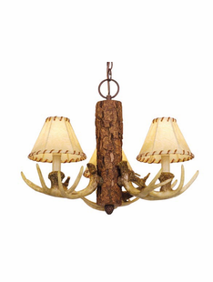 PINE AND ANTLER 3 LIGHT CHANDELIER
