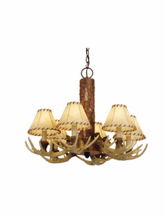 PINE AND ANTLER 6 LIGHT CHANDELIER