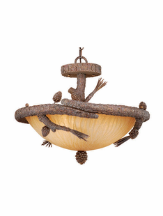 PINE BRANCH 3 LIGHT PENDANT / FLUSH MOUNT