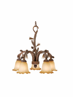 PINE BRANCH 5 DOWN LIGHT CHANDELIER