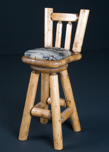 "PINE LOG BAR STOOL 24"" CUSHION SEAT W/BACK AND SWIVEL"
