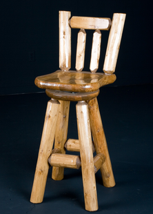 "PINE LOG BAR STOOL 30"" SADDLE SEAT W/BACK AND SWIVEL"