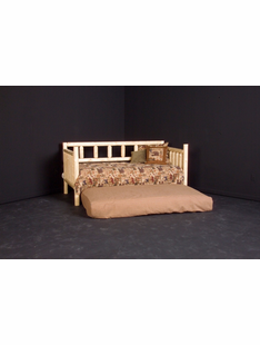 PINE LOG DAY BED W/ROLL OUT TRUNDLE