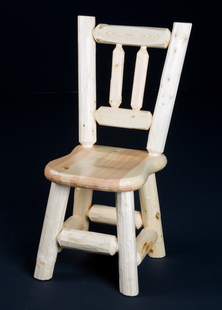 PINE LOG DINING CHAIR SADDLE SEAT