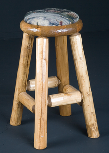 PINE LOG PUB STOOL CUSHION SEAT 30""