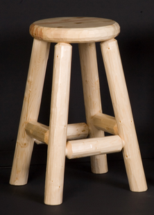PINE LOG PUB STOOL WOOD SEAT 24""