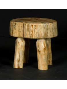 PINE LOG SITTING STOOL