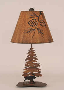 PINE TREE WITH MOOSE DESK LAMP