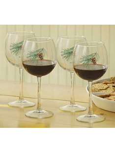 PINECONE 16OZ. RED WINE GLASSES-SET/4