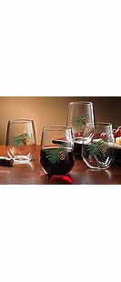 PINECONE STEMLESS WINE GLASSES-SET/8