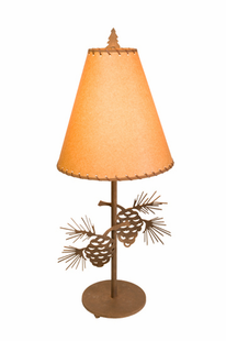 "PINECONETABLE LAMP 30""H X 13""W"