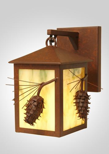 PONDEROSA PINE HANGING RUSTIC STEEL WALL SCONCE SMALL