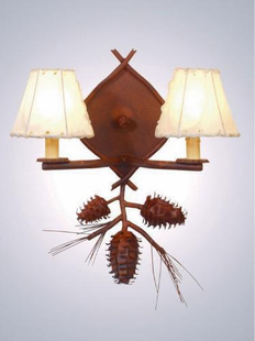 PONDEROSA PINE RUSTIC STEEL DOUBLE WALL SCONCE