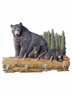 Real Wood- Carved Bear Family Coat Rack