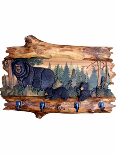 Real Wood- Log Framed Bear Family Coat Rack