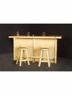 RUSTIC LOG BAR W/LIQUID GLASS 84""
