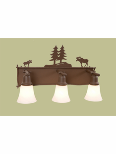 RUSTIC STEEL MOOSE 3 LIGHT GLACIER TRIPLE VANITY
