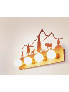 RUSTIC STEEL MOOSE 4 LIGHT  FLAT VANITY
