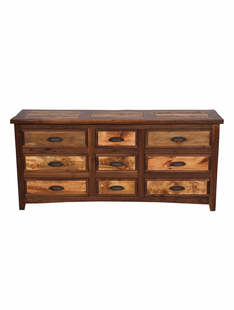 RUSTIC WALNUT 9 DRAWER DRESSER