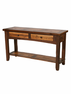 RUSTIC WALNUT SOFA TABLE (2 DRAWER & SHELF)