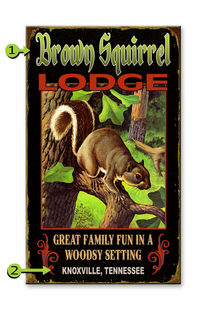 SQUIRREL LODGE PERSONALIZED SIGN