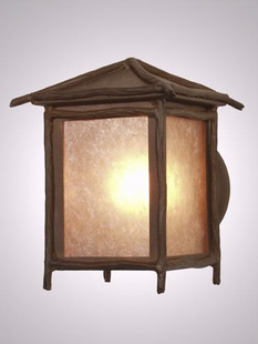STICKS PEAKED RUSTIC STEEL WALL SCONCE (LG)