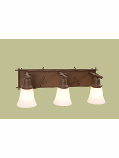 STICKS RUSTIC STEEL 3 LIGHT GLACIER VANITY