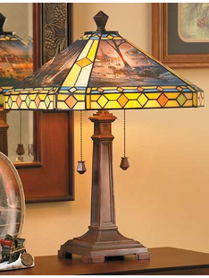 TERRY REDLIN ART STAINED GLASS LAMP