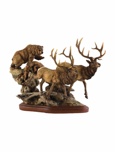 """THE ENCOUNTER"" ELK AND GRIZZLY SCULPTURE"