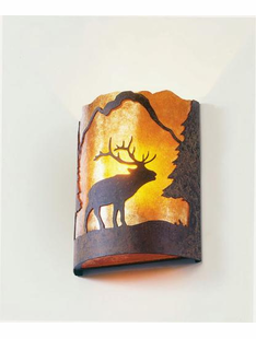 TIMBER RIDGE ELK HALF ROUND WALL SCONCE