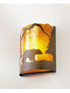 TIMBER RIDGE HALF ROUND BEAR WALL SCONCE