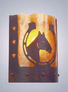 TIMBER RIDGE LUCKY HORSESHOE RUSTIC STEEL SCONCE